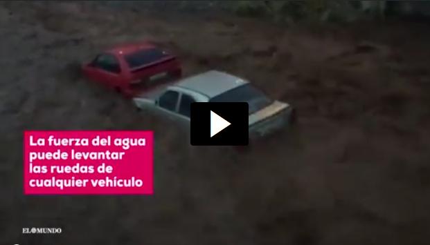 Imagen del vídeo de salida segura de un vehículo en una riada